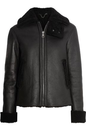 IRIS & INK Jeannie shearling-trimmed leather coat