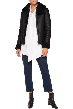 IRIS AND INK Jeannie shearling-trimmed leather coat