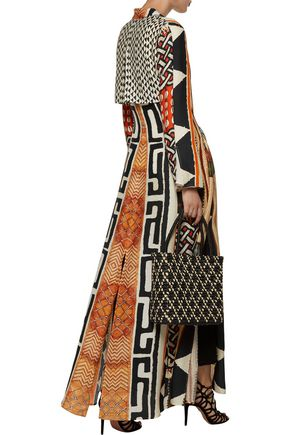 CAMILLA Belted printed silk and cotton-blend coat
