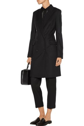 Theory Woman Irima Double-breasted Wool-blend Coat Black