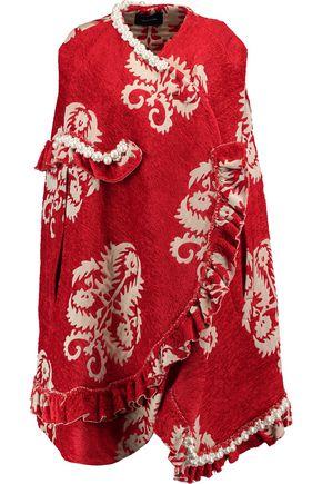 SIMONE ROCHA Ruffled faux pearl-embellished jacquard cape