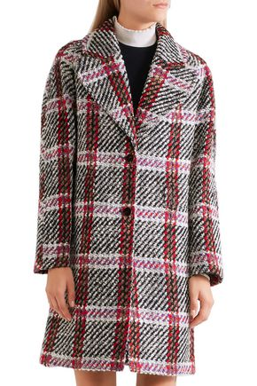 CARVEN Checked wool-blend tweed coat
