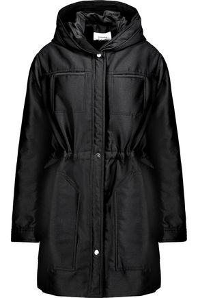 CARVEN Gathered twill hooded coat