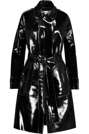CARVEN Belted glossed faux leather trench coat