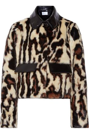 WOMAN GLOSSED FAUX LEATHER-TRIMMED LEOPARD-PRINT FAUX FUR COAT ANIMAL PRINT