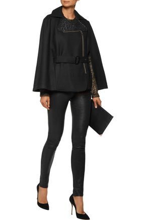 ROLAND MOURET Lygon leather-trimmed wool-blend cape