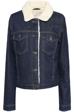 MAJE Shearling-trimmed denim jacket