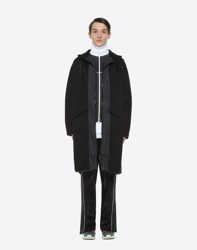 Long double wool cloth and nylon parka