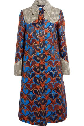 MARY KATRANTZOU Stardom paneled embroidered jacquard coat