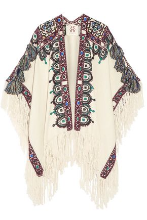 FIGUE Havelli fringed embroidered alpaca poncho