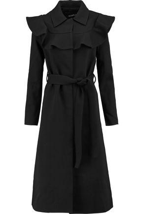 GOEN.J Ruffle-trimmed wool-blend twill coat