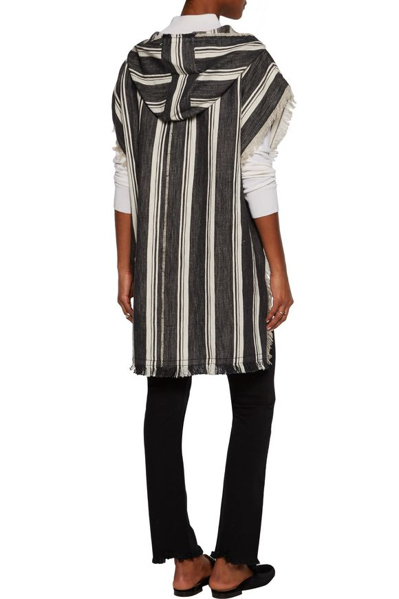 Asmid striped cotton and linen-blend canvas hooded cape | THEORY | Sale up  to 70% off | THE OUTNET