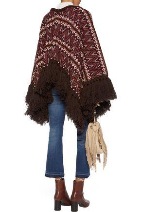 TALITHA Fringed jacquard-knit wool poncho