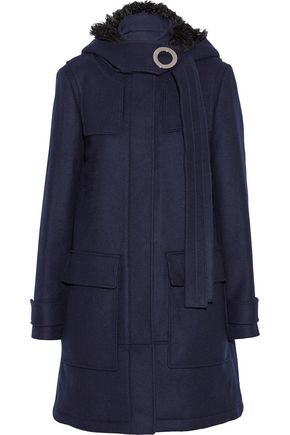 PROENZA SCHOULER Shearling-trimmed wool-blend felt hooded coat