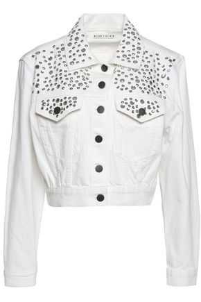 ALICE + OLIVIA Crystal-embellished denim jacket