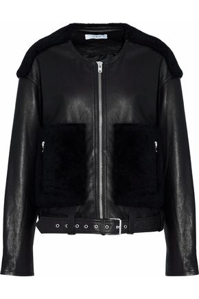 IRO Faux fur-paneled leather jacket