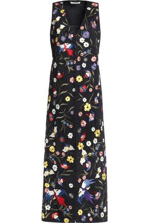 ALICE + OLIVIA Floral-embroidered cotton-blend vest