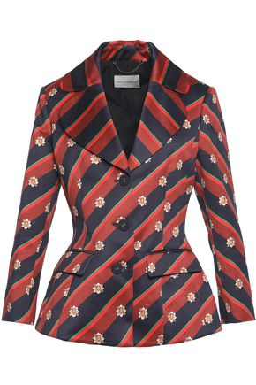 MARY KATRANTZOU Striped cotton and silk-blend jacket
