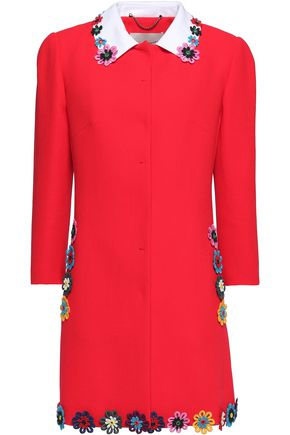 MARY KATRANTZOU Embellished wool-crepe coat