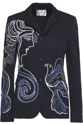 MARY KATRANTZOU Embellished embroidered cotton-twill jacket