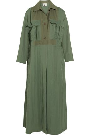 TOPSHOP UNIQUE Redford oversized cotton canvas-paneled twill trench coat