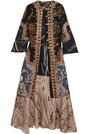 BIYAN Raakelstones paneled embellished washed-silk and satin coat