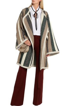 SEE BY CHLOÉ Leather-trimmed striped jacquard-knit coat