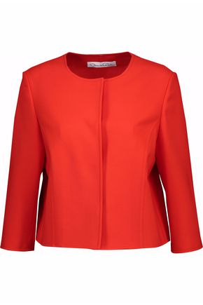 OSCAR DE LA RENTA Gathered wool-blend crepe jacket