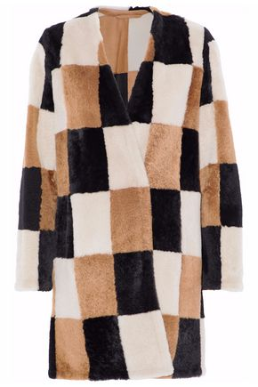 MAX MARA Checked shearling coat