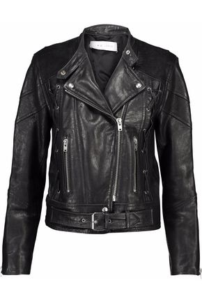 IRO Distressed lace-up leather biker jacket