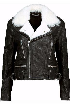 IRO Shearling-trimmed nubuck jacket
