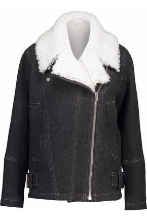 IRO Shearling-trimmed wool-blend biker jacket