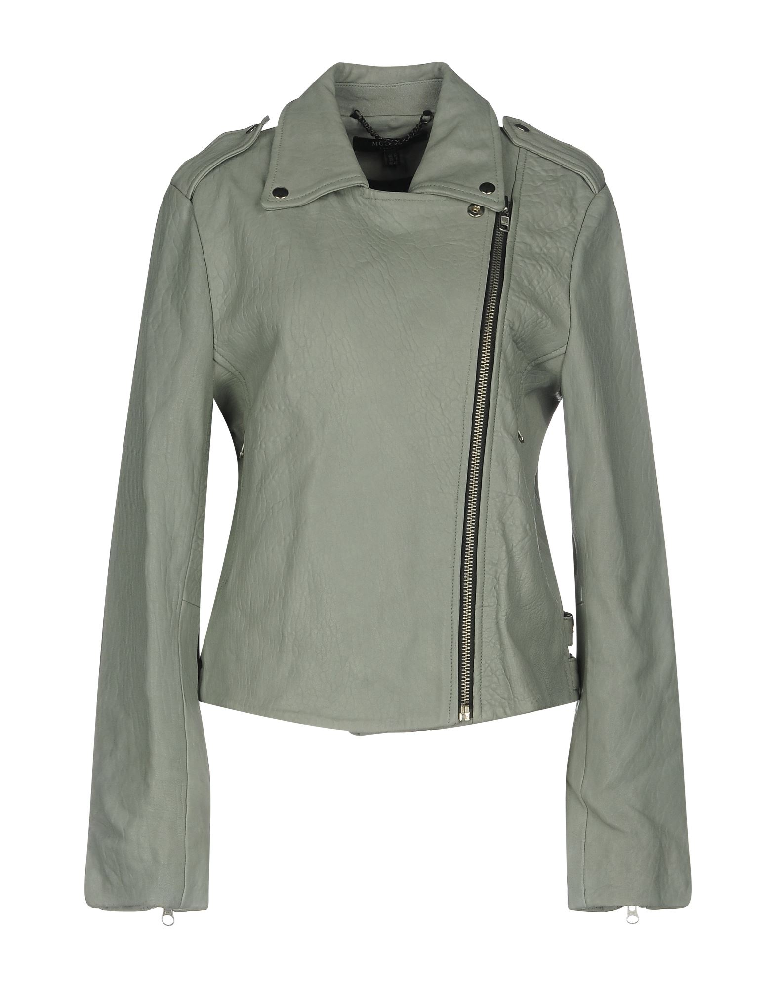 MUUBAA Куртка двуцетная кожаная куртка косуха на молнии