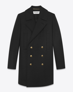 SAINT LAURENT Coats D Long double breasted pea coat in black felt f