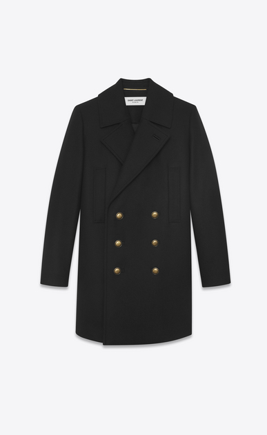 SAINT LAURENT Coats D Long double breasted pea coat in black felt a_V4