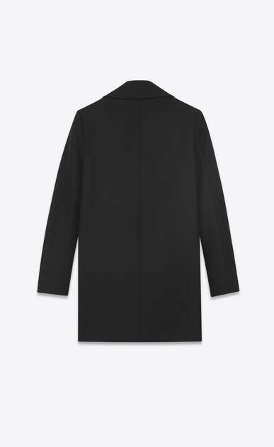 SAINT LAURENT Coats D Long double breasted pea coat in black felt b_V4