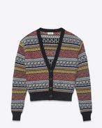 SAINT LAURENT Knitwear Tops D Varsity cardigan in multicolored jacquard knit. f