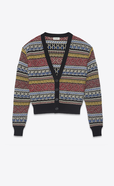 SAINT LAURENT Knitwear Tops Woman Varsity cardigan in multicolored jacquard knit. a_V4