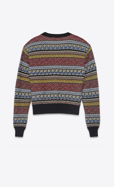 SAINT LAURENT Knitwear Tops Woman Varsity cardigan in multicolored jacquard knit. b_V4