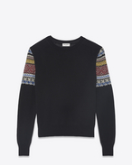 SAINT LAURENT Knitwear Tops D Sweater in black and multicolored jacquard knit f