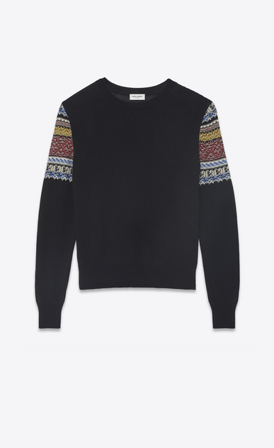 SAINT LAURENT Knitwear Tops Woman Sweater in black and multicolored jacquard knit a_V4