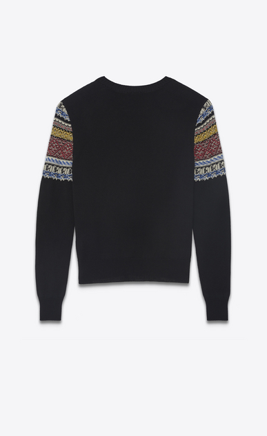 SAINT LAURENT Knitwear Tops Woman Sweater in black and multicolored jacquard knit b_V4