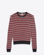 SAINT LAURENT Knitwear Tops D Striped sweater in a black, red and off-white crocheted knit f