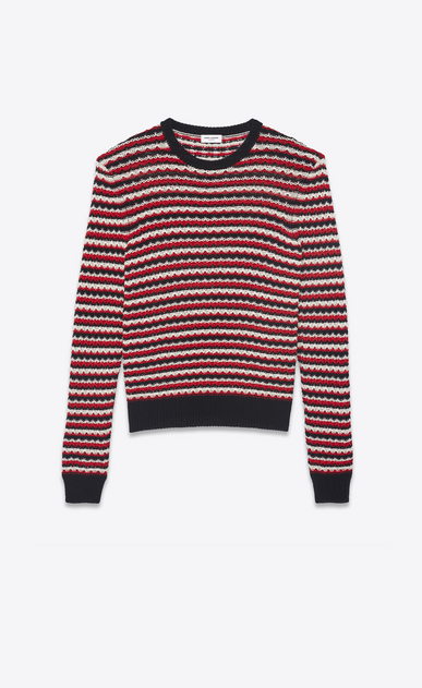 SAINT LAURENT Knitwear Tops Woman Striped sweater in a black, red and off-white crocheted knit a_V4