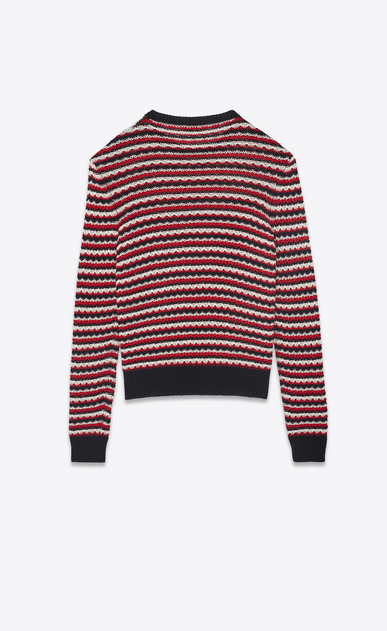 SAINT LAURENT Knitwear Tops Woman Sweater in striped black, red and off-white crocheted knit b_V4