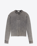 SAINT LAURENT Sportswear Tops D Cropped sweatshirt with SAINT LAURENT square in faded black fleece f
