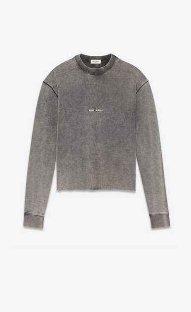 SAINT LAURENT Sportswear Tops Damen Crop-Sweatshirt aus ausgebleichtem schwarzem Fleece mit SAINT LAURENT-Quadrat a_V4