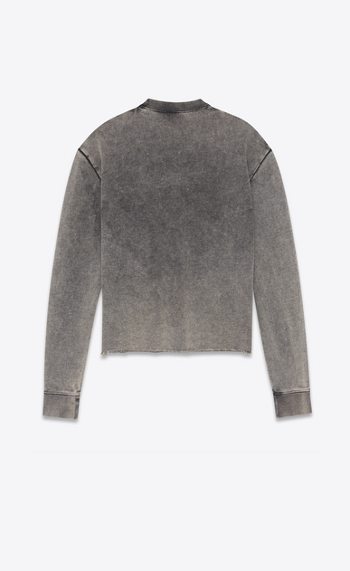 SAINT LAURENT Sportswear Tops Damen Crop-Sweatshirt aus ausgebleichtem schwarzem Fleece mit SAINT LAURENT-Quadrat b_V4