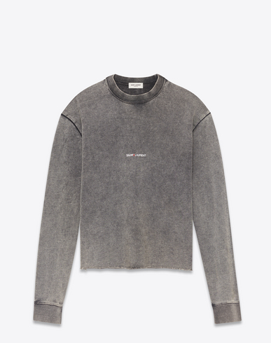 Washed Logo Cotton Sweater in Grey