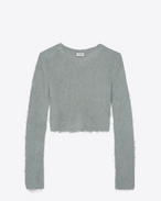 SAINT LAURENT Knitwear Tops D Cropped sweater in vintage blue mohair f